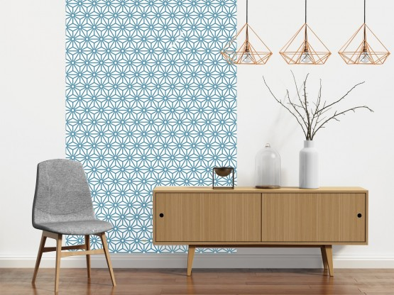 papier peint adh sif scandinave mod le lanternes bleu canard. Black Bedroom Furniture Sets. Home Design Ideas